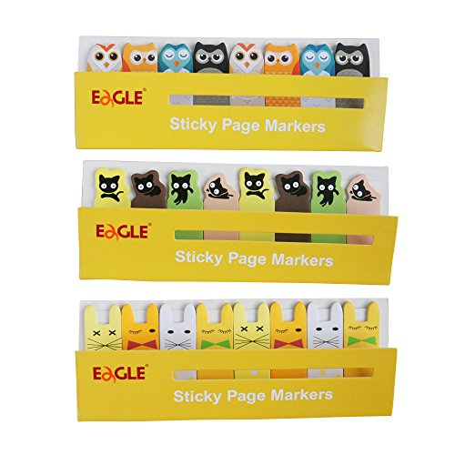 Eagle Cute Cartoon Animal Sticky Notes, Page Markers, 15 Sheets per Pad, 8 Pads per Set, 3 Sets, Total 360 Sheets (Yellow)