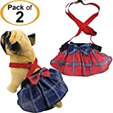 FunnyDogClothes Pack of 2 Dog Skirt Female Diapers with Suspenders for Small and Large Pet 100% Cotton Plaid Tartan Blue Red (XL/XXL Waist 22\