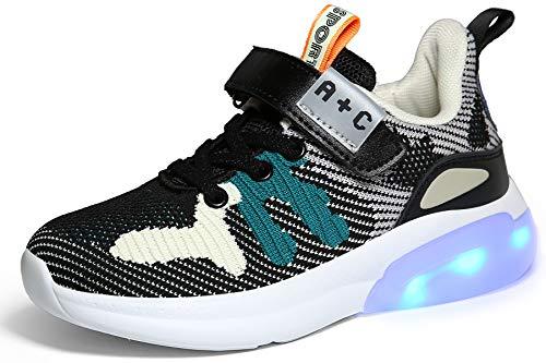 Voovix Bambini LED Light up Scarpe Low-Top Ricarica USB Sneakers Lampeggianti Unisex Scarpe da Ginnastica Lucide per Ragazzi e Ragazze, Nero32