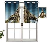 Hiiiman Cortinas térmicas aisladas 100% opacas con cenefa de París Landmark Architecture France Travel Destination, juego de 1, 132 x 45 cm para dormitorio con ojales