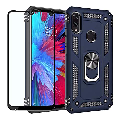 Strug for Xiaomi Redmi Note 7/Redmi Note 7 Pro Case,Heavy Duty Shockproof Protection Built-in 360 Rotatable Ring Magnetic Car Mount Case with Screen Protector for Xiaomi Redmi Note 7(Blue)