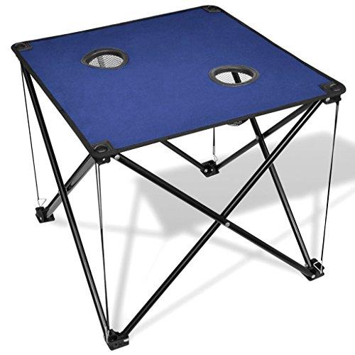 vidaXL Table de Camping Pliante Bleue avec Un Sac de Transport Mobilier de Camping