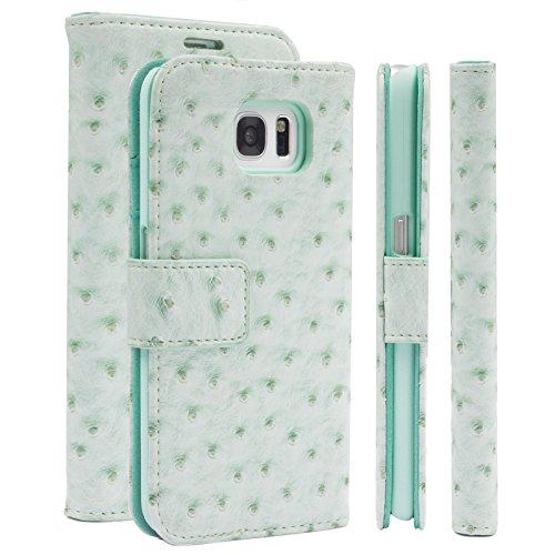 iCues Samsung Galaxy S7 Maraba Bolsa de Avestruz Verde Menta | Prima Ranura para Tarjetas de Cuero del Soporte de la función del Soporte - Libro bisagras Bolsillo del Funda Carcasa Bolsa Cover Case