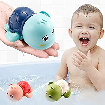 EEIEER Baby Bath Toys  Toddler Toys Wind Up Swimming Turtle Toy Floating Baby Pool Bathtub Toys Gift for Kids 3 4 5 Year Old Girls 3 Packs