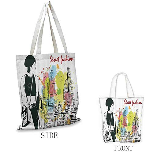 "Travel Bag, Reusable Fashion House Decor Girl in Hovel Style Clothes Citys Skyscrapper Scene Street Fashion, 16.5""x13.8""x6.3"" Black White"