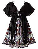 119 - Plus Size Dashiki Printed Babydoll Cover-Up Vacation Dress (1X, Black)