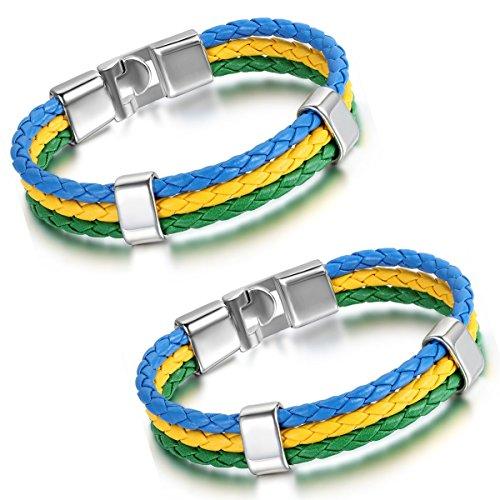 Aroncent Brasilien Flagge Armband Lederarmband Kordelarmband Fanartikel Fussball Weltmeisterschaft WM & EM Europameisterschaft 2017 Länder Style geflochten