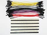 Schmartboard Qty. 10 of Grey, Purple, Black, Red and Yellow 5' Female Jumper Wires and 200 Headers