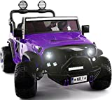 Two (2) Seater Ride On Kids Car Truck w/ Remote | Large 12V Battery Licensed Kid Car to Drive 3 Speeds, Leather Seat, MP3 Music by Bluetooth, FM Radio, Rubber Tires (Purple, Two Seater)