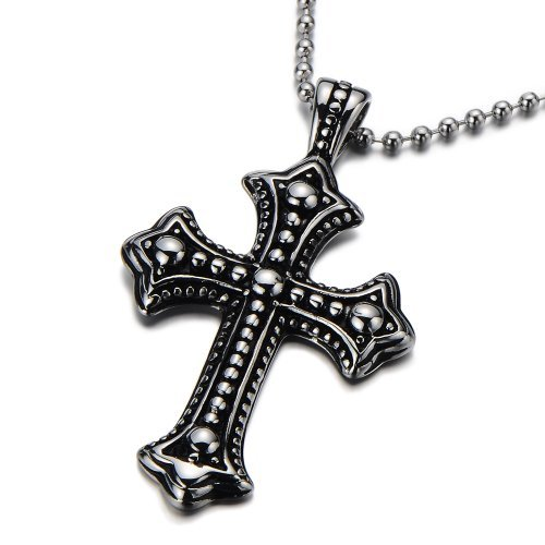 COOLSTEELANDBEYOND Gothic Vintage Cross Pendant Necklace Stainless Steel Unisex Silver Black with 23.6 in Ball Chain
