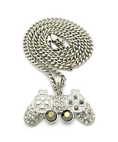 Mens Iced Out Silver Playstation Game Controller PS3 PS4 Pendant Cuban Chain Necklace