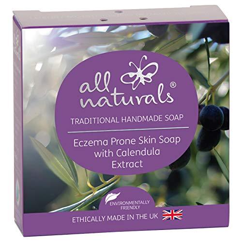 All Naturals, Caléndula Jabón Orgánico para Eccema - Piel Sensible con Aceite de Coco Virgen, Rosa Mosqueta, Manteca de Karité, 100g