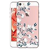 OKZone Cover iPhone 5 / 5S / SE [con Pellicola Proteggi Schermo], Custodia Gel Trasparente Morbida Silicone Sottile TPU Cover Protettiva Compatibile con Apple iPhone 5 / 5S / SE (Fiore)