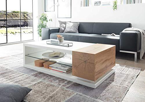 lifestyle4living Couchtisch aus Eiche Dekor/Weiß mit 2 Ablagefächern und 2 Klappen | Schöner Wohnzimmertisch für gemütliche Wohnzimmer