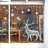 Yuson Girl Ventanas de Navidad Pegatinas Reno Copo de Nieve Vinilo Extraíble árbol de Navidad DIY Wall Window Door Mural Decal Sticker para escaparate