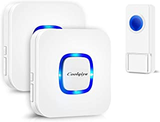 Coolqiya Wireless Doorbell Chime Waterproof Remote Door Bell Button Ring for Home, No Battery Required for Receiver 52 Ringtones, 1 Transmitter + 2 Receivers