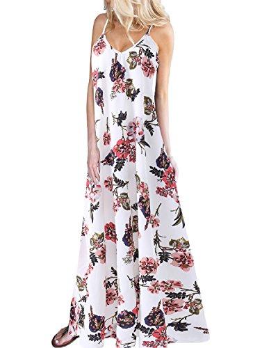 Kidsform Femmes Robe de Plage d'été Fleurie Robes Longue Boho à Bretelle Imprimée Robe sans Manches Col en V PGrande Taille Chic A-Blanc XXL