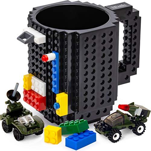 Taza de café con 3 paquetes de ladrillos de construcción, sin BPA, taza de café divertida para niños, diseño creativo de bloques de construcción, 16 onzas (negro)