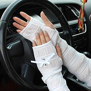 Summer Lady Lace Silk Gloves Printed Long Sleeves Anti-UV Sun Fingerless Arm Multicolor - Grey