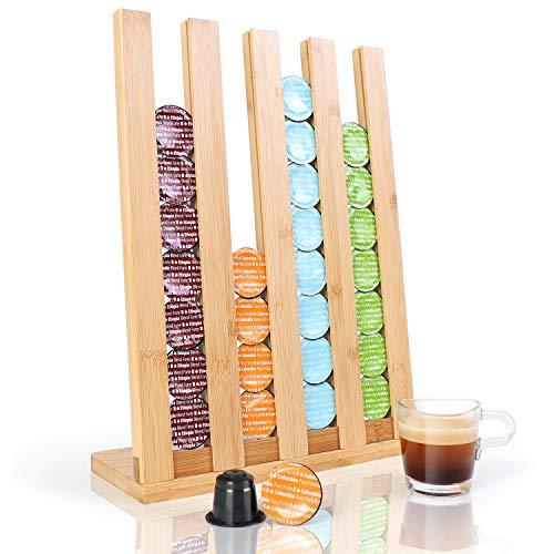 Gourmesso Kapselhalter für Nespresso Kaffee | Kapselständer & Kapselspender aus Bambus zur Kapsel Aufbewahrung von 36 Kapseln