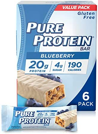 Pure Protein Bars, Healthy Low Carb Snacks, Blueberry Greek Yogurt, 1.76 oz, 6Count