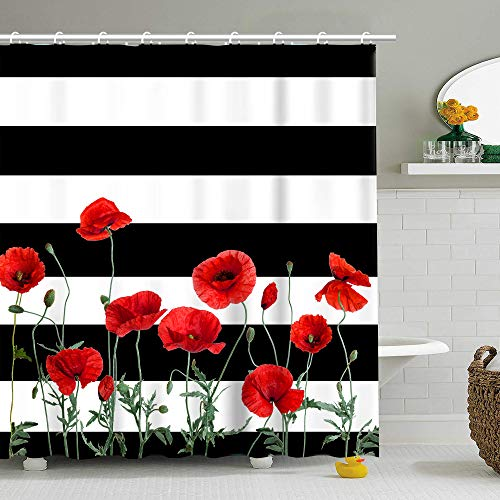 Poppy Floral Shower Curtain Striped Shower Curtains with 12 Hooks Black and White Stripes Shower Curtain 72 Inch (RED)