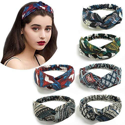 Cozywind Retros Diademas para Mujeres,Boho Turbantes del Pelo Banda Elástica Para Mujer Chica Niña, Paquete de 6