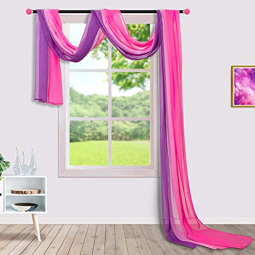 Princess Canopy Bed Curtains for Teen Girls Room Decor Aesthetic with Light On Pink and Purple Sheer Window Scarf Valance Drapes Voile Canapee Bed Scarves Ombre Curtains for Girls Bedroom Decorations