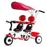 YUMEIGE Trikes Kids Tricycle Twins Kids Baby Stroller Tricycle 1-6 Years Old Birthday Gift Kids Strollers Toddler Trike with Foldable Awning (Boy/Girl) (color : Red)