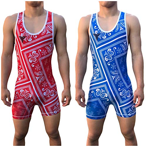 TRI-TITANS Humble Reversible Red and Blue Sublimated Wrestling Singlet - Freestyle Greco Roman Folkstyle - Red and Blue Mens & Youths (Youth L: 55lbs-70lbs)