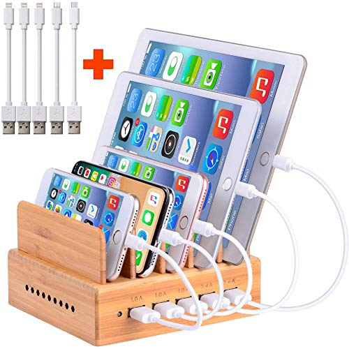 Handy Ladestation USB Ladegerät mehrfach Ladestation für mehrere Geräte Smartphone Ladegerät für mehrere Handys USB Ladestation mehrfach aus Bambus mit 5 Kabel