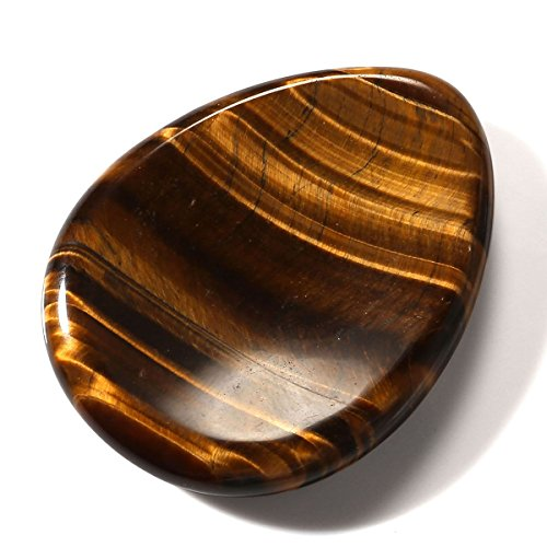 QGEM Tiger's eye Gemstone Carved Thumb Worry Stone Healing Crystals Pocket Palm Stone W/Box