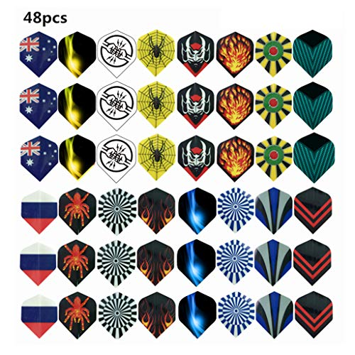 cxnwuggfvsc 48 Stück Dart-Zubehör für Haustiere, Verschleißfestigkeit, verschiedene Stile, zufällige Farbe