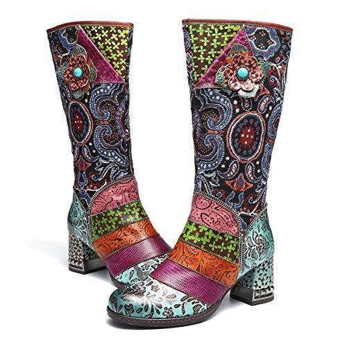 gracosy Lederkniestiefel, hohe Stiefel für Damen, kniehohe Stiefel, Overknee-Reitstiefel, Waden-Stiefel, flache Stiefelette, Blau (blau), 42 EU