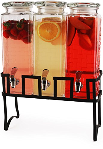 Circleware Preston Triple Mason Jar Beverage Dispensers with Black Metal Stand Fun Party...