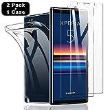 SHINEZONE Panzerglas Bildschirm schutzfolie Kompatibel mit Sony Xperia 5 [2 Stück+Hülle] 9H Härte Kratzenfest, Ölbeständig & Blasenfrei Handy Shutzfolie für Sony Xperia 5