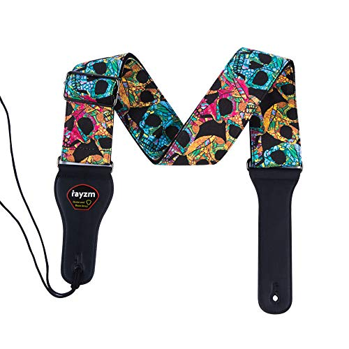 Rayzm Gitarrengurt / Bassgurt aus Baumwolle für Akustik- , E-Gitarre und Bassgitarre mit Plektum Tasche und Coolem Totenkopf-Design, 6,5 cm breit nur für Erwachsene (zu groß für Kinder)