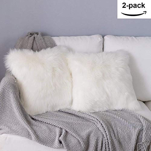 YDFYX Federa Cuscino,in Lana Artificiale Fodera per Cuscino, Super Soft Fodera per Cuscino in Pelle Deluxe Home Decor Decorativo Camera da Letto Federa Divano (2Pcs Bianco, 45X45 cm)