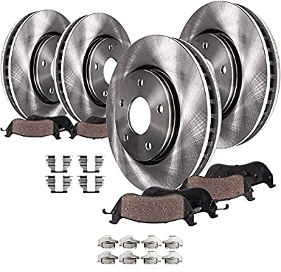 Detroit Axle Replacement for 2003-2007 Jeep Liberty Front & Rear Disc Brake Rotors + Ceramic Brake Pads w/Hardware - 8pc Set