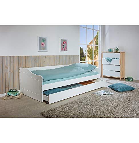 Inter Link Sofabett inkl. Gästeliege ausziehbar Kiefer Massivholz weiß lackiert 2 Liegeflächen 90 x 200 cm