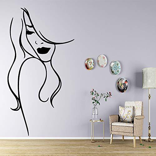 BailongXiao Frau Selbstklebende Vinyl wasserdichte Wandkunst Aufkleber für Hauptdekoration Wohnzimmer Schlafzimmer abnehmbare dekorative Wandtattoo