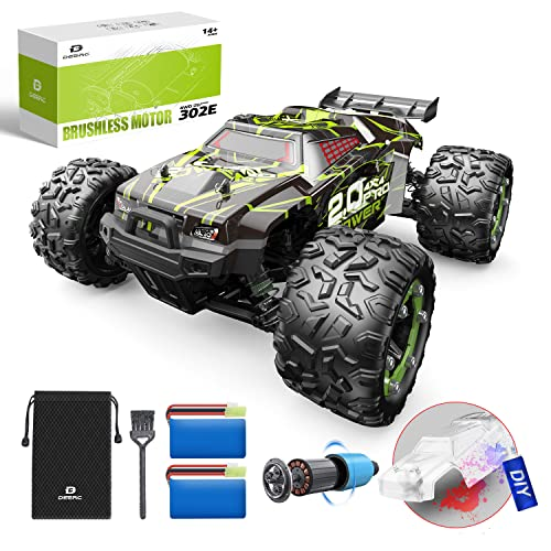 DEERC Brushless 302E RC Cars, Upgraded 60KM/H High Speed Remote Control Car for Adults, 4WD 1:18 Scale All Terrain Off Road Monster Truck with DIY Extra Shell, 2 Battery 40 Min Car Toy for Boys& Girls