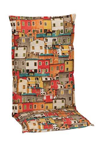 Beo Gartenstuhlauflagen Hochlehner UV-beständig Turin   Made in EU Premium-Qualität   Hochlehner Auflagen waschbar   Atmungsaktive Stuhlauflagen Hochlehner mit Buntem Sardinien-Muster