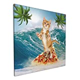 Gifts Canvas Wall Art Cat Surfing On Pizza Ocean Palm Tree Framed Canvas Pictures For Living Room Bedroom Bathroom Kitchen Office Modern Home Decoration , 12'X12' One Panel, Gallery Wrapped