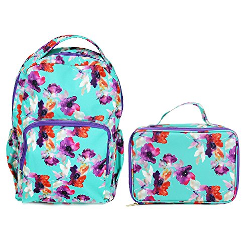 Teal Floral Watercolor Reinforced and Water Resistant Backpack and Lunch Bag Tote 2 Piece Set