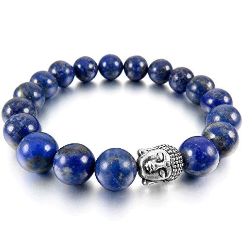 MunkiMix 10mm Aleación Pulsera Energía Eslabones Link Enlace Muñeca Energía Piedras Azul El Tono De Plata Lapislázuli Budismo Budista Mala Bola Bead