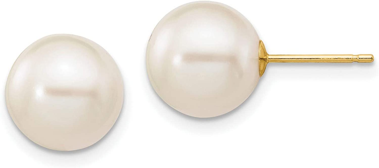14k Yellow Gold 9-10mm White Freshwater Cultured Pearl Stud Earrings 9x9 mm