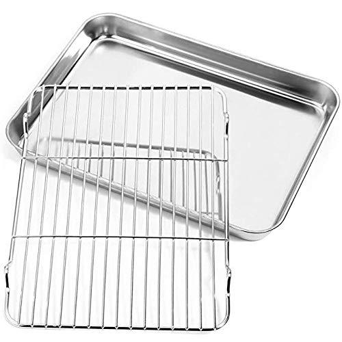 Fablcrew Edelstahl-Bratenform mit Rost, Backblech mit Grill, Edelstahl Grillpfanne Bräter mit Rost, 31 * 24 * 2.5cm