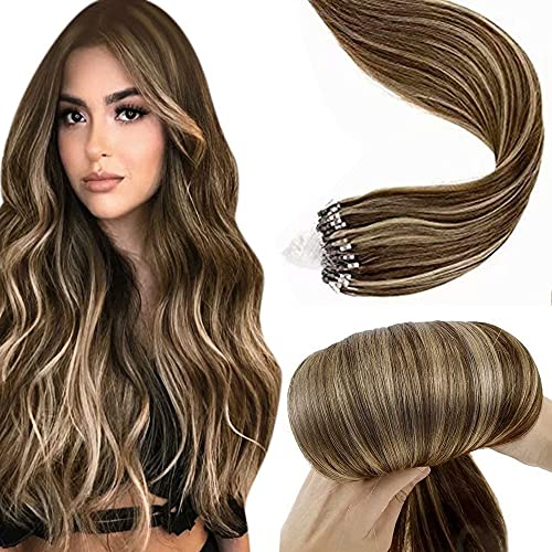 Rajout Cheveux Naturel Extension Pose a Froid Micro Loop Micro Ring Vrai Cheveux Humain Remy Highlight Marron Fonce Mixte Caramel Blonde Micro Anneaux Extension 50 Mèches 50g 22 Pouce