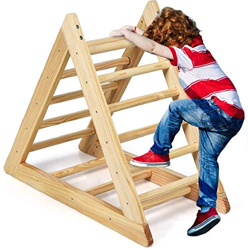Costzon Kids Climbing Pikler Triangle Ladder, Wooden Triangle Climber with Climbing Ladder for Toddlers, Indoor Playful Climbers with Stable Structure, Suitable for Children Boys Girls 3 Years Old+